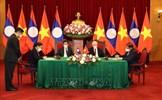 Tổng Bí thư Nguyễn Phú Trọng và Tổng Bí thư, Chủ tịch nước Lào chứng kiến Lễ ký kết văn kiện hợp tác giữa Việt Nam-Lào