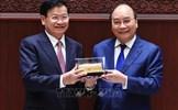 Chủ tịch nước Nguyễn Xuân Phúc và Tổng Bí thư, Chủ tịch nước Lào Thongloun Sisoulith dự Lễ trao tặng công trình Nhà Quốc hội Lào