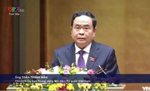 Chủ tịch Trần Thanh Mẫn trình bày Báo cáo tổng hợp ý kiến, kiến nghị của cử tri và Nhân dân tại kỳ họp thứ 11 Quốc hội khóa XIV