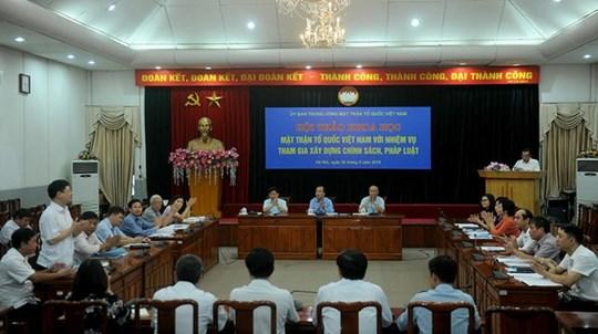 Mặt trận Tổ quốc Việt Nam với nhiệm vụ tham gia xây dựng chính sách, pháp luật