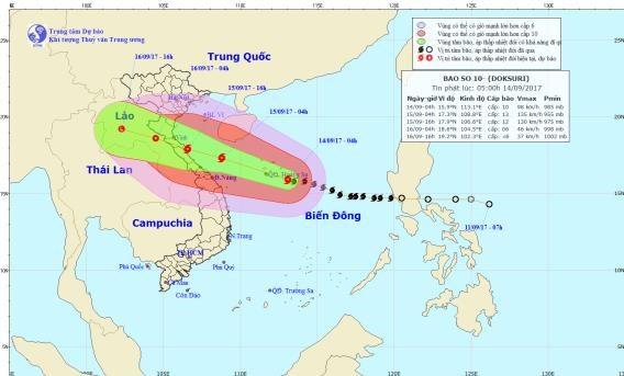 Bão số 10 tăng tốc, hướng vào các tỉnh miền Trung