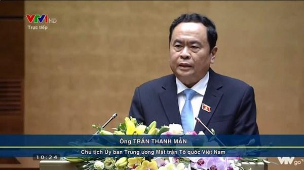 Chủ tịch Trần Thanh Mẫn trình bày Báo cáo tổng hợp ý kiến, kiến nghị của cử tri và nhân dân tại Kỳ họp thứ 8, Quốc hội khóa XIV